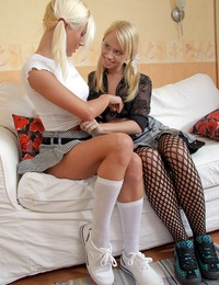 Good looking lesbian teens licking each others damp cunt