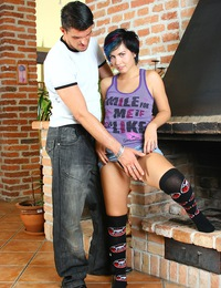 Daring teen cutie with blue hair railed in her own house