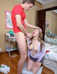 A horny chap jizzing in her adorable opened teenage mouth